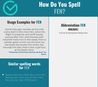 Correct spelling for fen