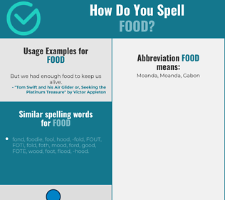 Correct spelling for food