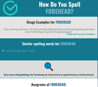Correct spelling for forehead