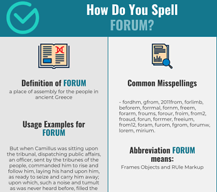 Correct spelling for forum