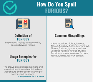 Correct spelling for furious