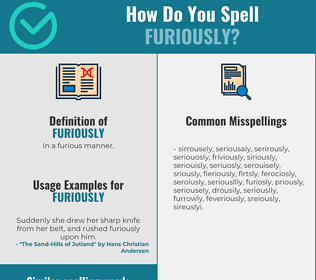 Correct spelling for furiously