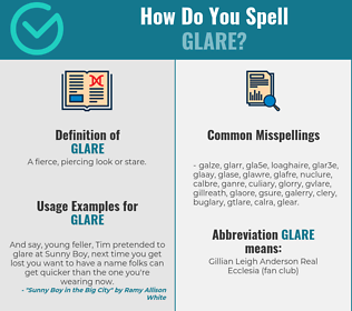 Correct spelling for glare
