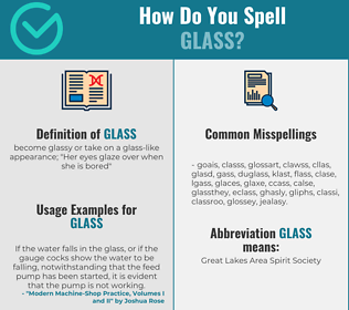 Correct spelling for glass