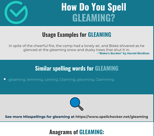 Correct spelling for gleaming