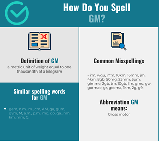 Correct spelling for gm