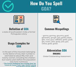 Correct spelling for goa