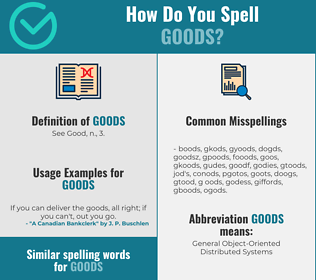 Correct spelling for goods