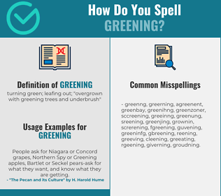 Correct spelling for greening
