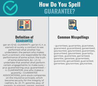 Correct spelling for guarantee