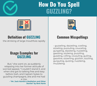 Correct spelling for guzzling