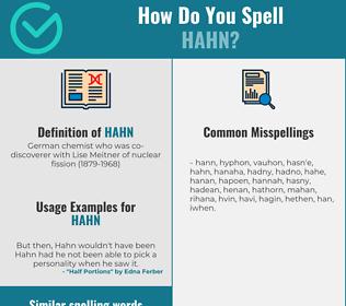 Correct spelling for hahn
