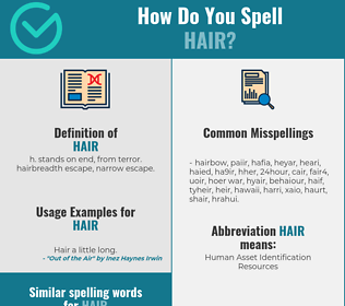 Correct spelling for hair