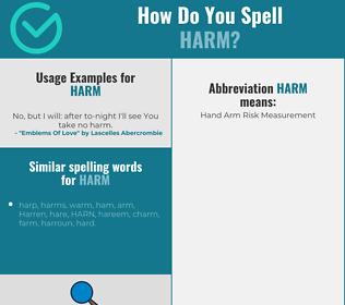 Correct spelling for harm