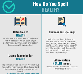 Correct spelling for health