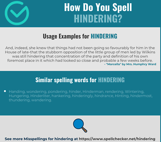 Correct spelling for hindering