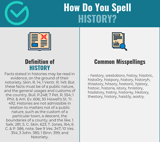 Correct spelling for history