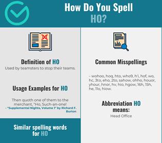 Correct spelling for ho