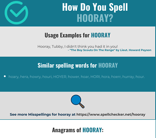Correct spelling for hooray