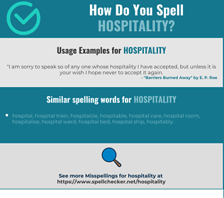 Correct spelling for hospitality