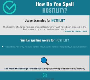 Correct spelling for hostility