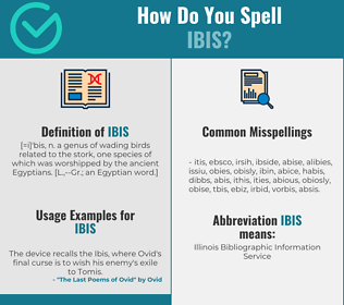 Correct spelling for ibis