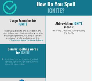 Correct spelling for ignite