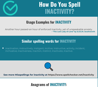 Correct spelling for inactivity