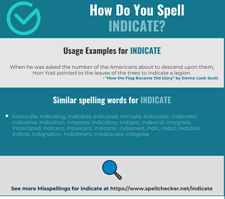 Correct spelling for indicate