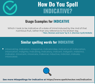 Correct spelling for indicative