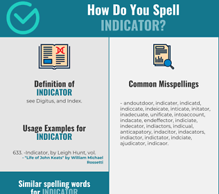 Correct spelling for indicator