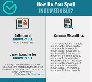 Correct spelling for innumerable