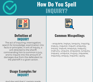 Correct spelling for inquiry