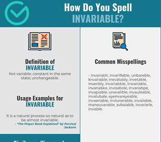 Correct spelling for invariable