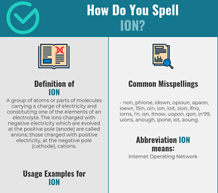 Correct spelling for ion