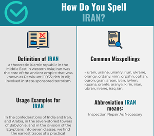 Correct spelling for iran