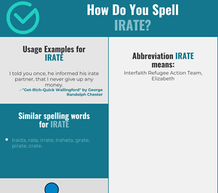 Correct spelling for irate