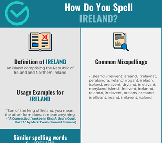 Correct spelling for ireland