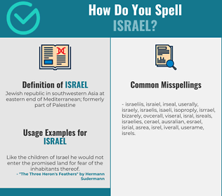 Correct spelling for israel