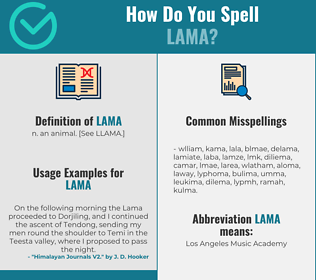 Correct spelling for lama