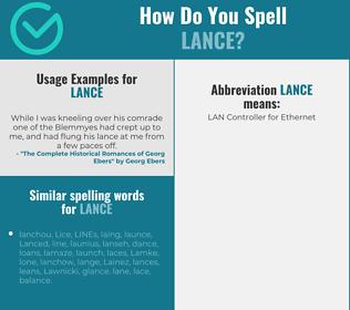 Correct spelling for lance