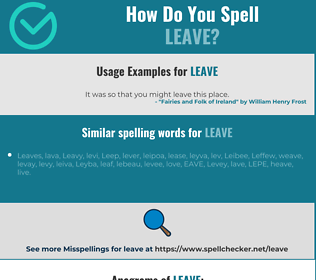 Correct spelling for leave