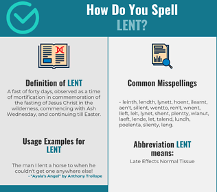 Correct spelling for lent