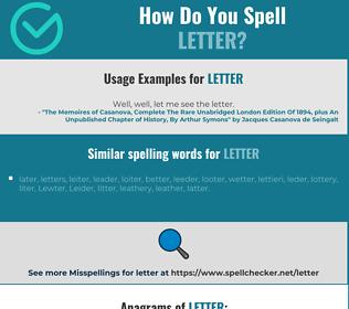 Correct spelling for letter
