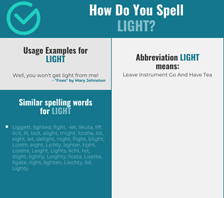 Correct spelling for light