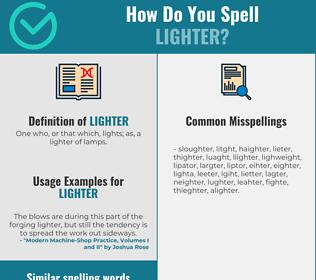 Correct spelling for lighter