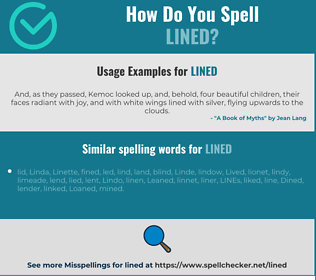 Correct spelling for lined