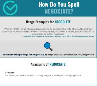 Correct spelling for negociate