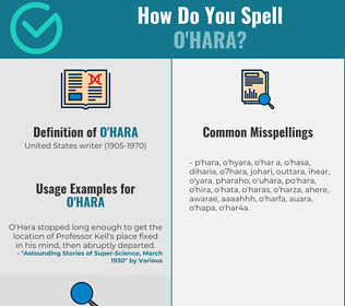 Correct spelling for o'hara