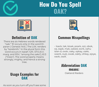 Correct spelling for oak